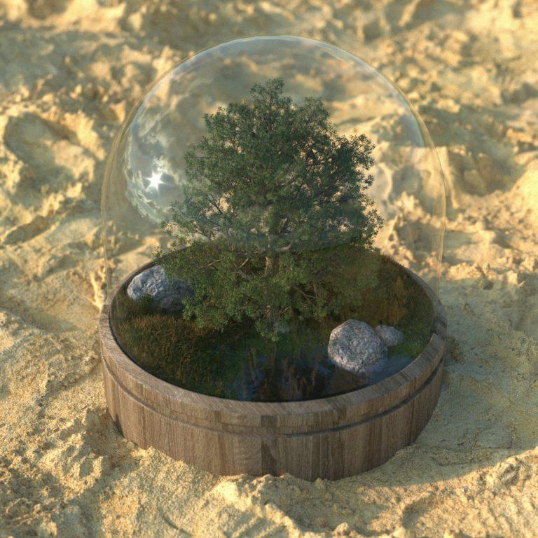 3D grafika - fiktív táj fával
